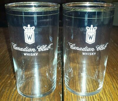 """Pair of Vintage """"Canadian Club"""" Whiskey Gold Rim Glasses"""