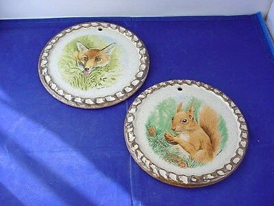 Pair Vintage Purbeck Pottery Animal Wall Hanging Plate Plaques Fox + Squirrel