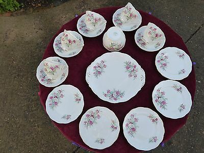 Queen Anne Bone China England Country Gardens 5 Trios Cake Plate Sugar And Milk