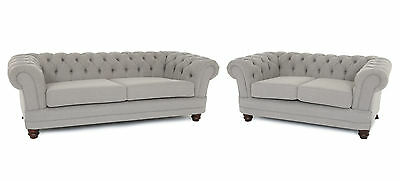 Brand New   Chesterfield 3 + 2 Sofas In Luxury Grey Fabric