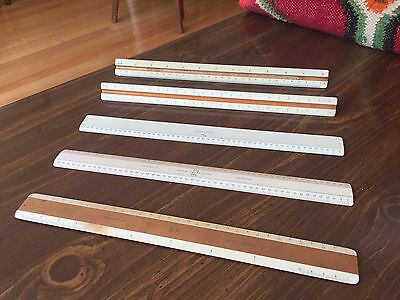 Lot 5 Vtg Architectural Drafting Engineering Rulers