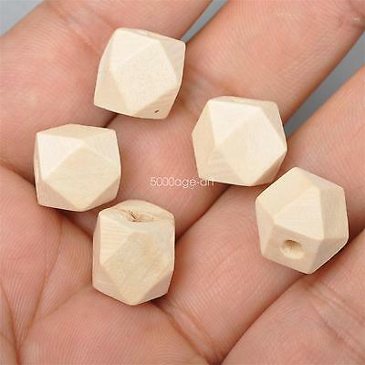 20pcs Unpainted Natural Unfinished Wood Beads Geometric Spacer wooden bead 15mm