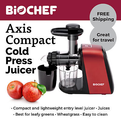 NEW BioChef Axis Compact: Ultimate Leafy Greens & Wheatgrass Juicer - Red