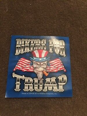 BIKERS FOR TRUMP STICKER motorcycle UNCLE SAM SKULL bumper USA Flag