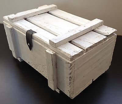 Vintage Retro White Wooden Shabby Chic Handmade Box Chest Storage Trunk Case