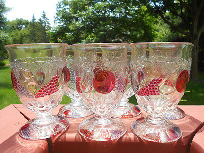 """6 Westmoreland Della Robbia Footed 8 Ounce Footed Tumblers 4 7/8"""""""