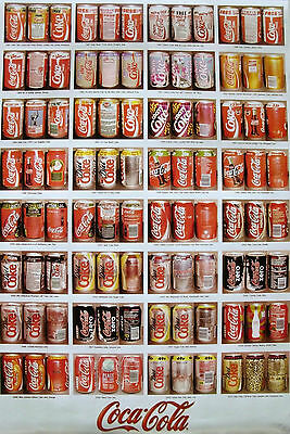 Poster Coca-Cola Various Styles Of Cans Throughout The Years 1987-2010