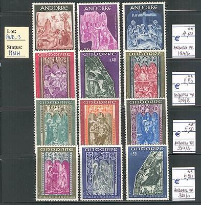 AND_3 - ANDORRE. Beautiful lot of 1950's / 60s religious stamps. MNH.