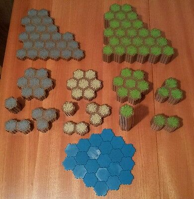 Heroscape Terrain Hex Lot Grass Sand Rock Water 85 Total Tiles Hasbro Mb