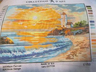 Lighthouse/Beach Scenery Needlepoint Canvas #6159-8.5x11.75 Inches/22x30cm-Colle