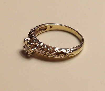 9ct Yellow Gold And Diamond Ring Size K