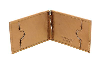 Mens Leather Money Clip Wallet Slim Compact Front Pocket Spring Clip Cowhide New