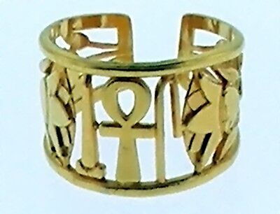 Egyptian Ring -Life, Health ,Happiness Ancient Hieroglyphs   Adjustible Size