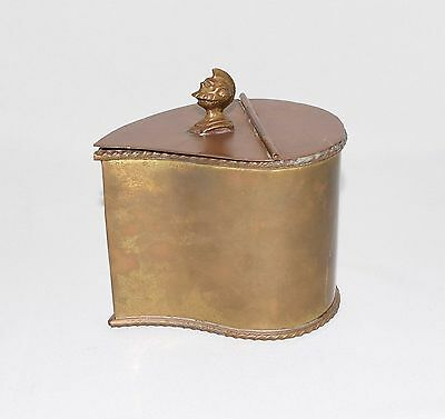 Vintage Heavy Brass Caddy With Knights Helmet Hinged Top Teardrop Shape Box
