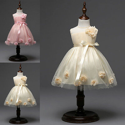 Flower Girls Princess Dress Baby Kids Party Wedding Bridesmaid Formal Tulle Gown