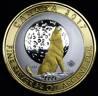 Gilded 2017 3/4 oz Canadian Howling Wolf Silver Coin 24K Gold High Contrast