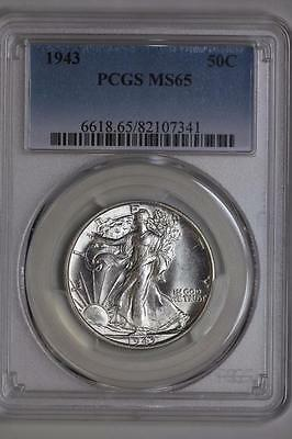 1943 P Walking Liberty Half Dollar MS65 PCGS Silver Bullion US Mint White Coin
