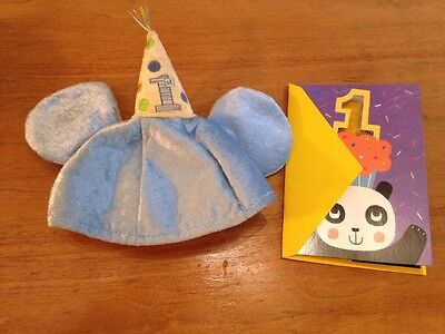 Mickey Mouse Disney 1st Birthday Party Hat & Card