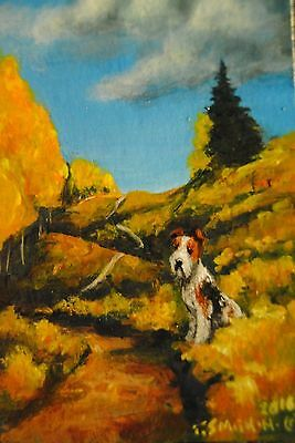 Original Painting~ACEO~Wire Hair Fox Terrier~tiny Dog~Miniature~Landscape~Aspen