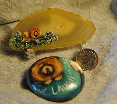 Original Painting~Two~Chow Chow~Hand Painted~Pebble~Worry Stone~Dog~Rock~Agate