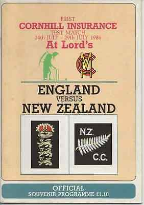 1986 England V New Zealand-First Test-@lords-Cricket Programme Tour
