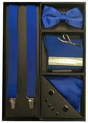 New Mens Full Gift Set Wedding Color Prom Tie Sock Suspenders Tuxedo Accessories
