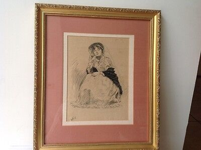 antique pen and ink drawing of women Febuary 1915