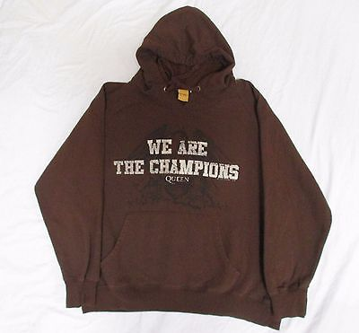 : Queen We Are The Champions Brown Hooded Sweatshirt Hoodie Mens Xl Cotton Poly