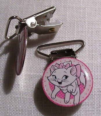 C06 - Clip Pince Bretelle, Crocodile, Attache Tétine - Chat Marie Point Rose
