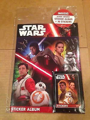 2016 Topps Star Wars The Force Awakens 64 Page Sticker Album PLUS 36 Stickers