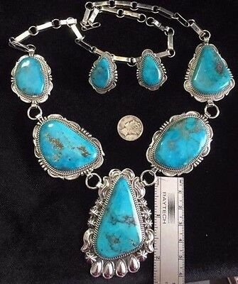 WOW High Grade Morenci Turquoise Necklace set TByrd design Navajo Will Denetdale