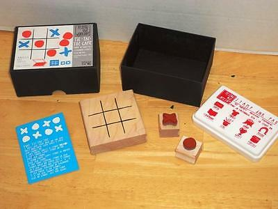 Rubber Stamp Tic Tac Toe Game Wooden Activity Kit Naughts Crosses Ink Pad Set