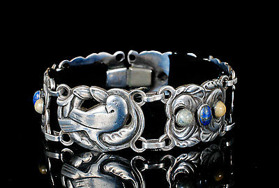 rare Norseland sterling silver Bracelet Jensen dove design with lapis and agate