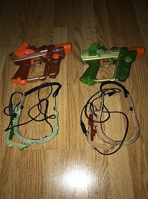 Tiger Lazer Tag Team Ops Deluxe Set - 2 Sets of Blaster Guns & Goggles - RARE !!