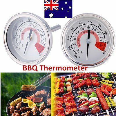 Stainless Steel Barbecue BBQ Smoker Grill Gauge Oven Pit Thermometer 120°C&Above