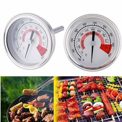 Pit Smoker Grill Thermometer Temp Gauge Outdoor BBQ Camping Stainless Steel New@
