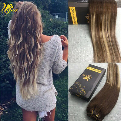 7A Balayage Ombre Clip in Remy Real Human Hair Extensions Brown Thick Full Head
