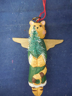 """Wooden cat with bottle brush tree and wings 5"""""""