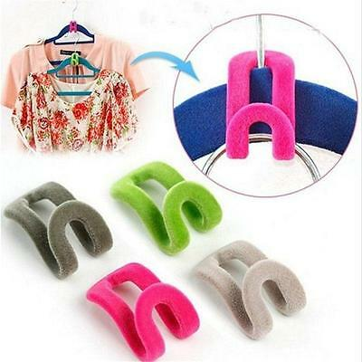 10x Creative Mini Flocking Clothes Hanger Hook Closet Organizer Wardrobe Bedroom