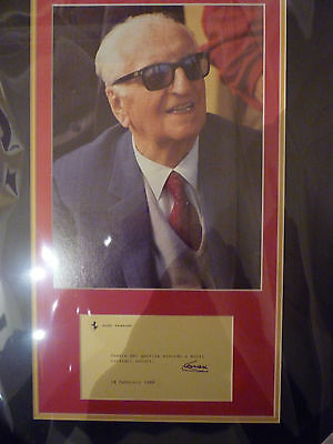 Framed Enzo Ferrari signed greeting card & picture