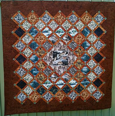PRICED BELOW COST, handmade quilt, beautiful wolfs, large queen bed size