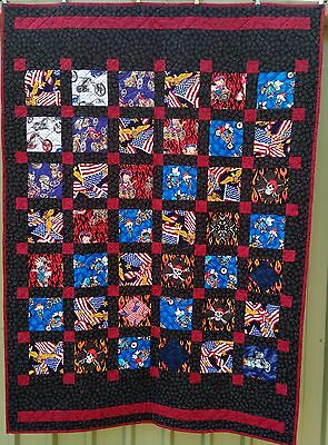 PRICED TO SELL, handmade quilt, fun boys chopper theme, single size