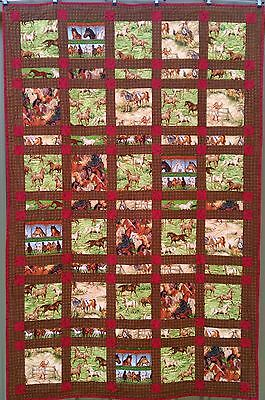 PRICE SLASHED, handmade quilt, fun wild west horsey theme, single bed size