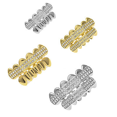 Hot Sales Fashion Two Row Bling Top & Bottom Teeth Hip Hop Mouth Grill Grillz