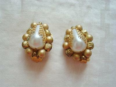 Vintage Clip On Earrings ~ Gold Color Beads ~ Faux Pearls ~ Costume Jewelry