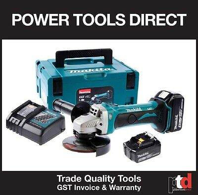 New Makita 18V Cordless Dga452Z 115Mm Angle Grinder Kit - 4Amp Batt & Charger