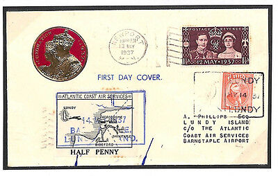 E151 1937 GB LUNDY ISLAND AIRMAIL MIXED FRANKING *Coronation*FDC*Large Map*Cover