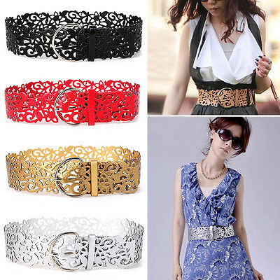 Women Girl Leather Hollow Out Flower Belt Lady Wide Buckle Stretch Waistband New