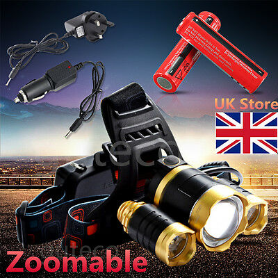 Zoomable 12000Lm 3 Cree XM-L T6 LED Headlamp Torch Rechargeable Head Light Lamp