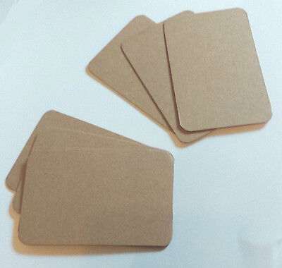 100 Brown Natural Kraft Wedding Save The Date Cards, Round Cornered Card Blanks